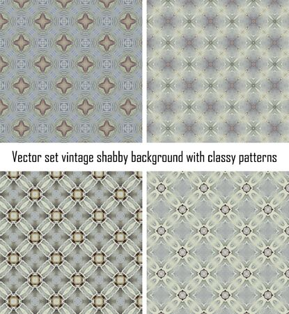 Vector set seamless vintage delicate colored wallpaper. Geometric or floral pattern on paper texture in grunge style. Stock Vector - 16554529