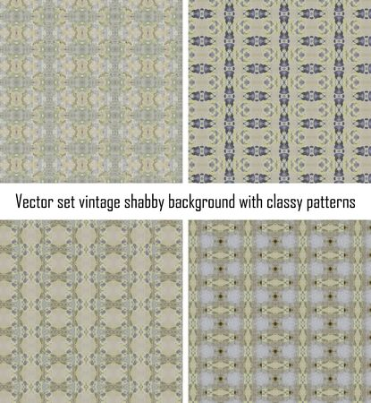 Vector set seamless vintage delicate colored wallpaper. Geometric or floral pattern on paper texture in grunge style. Stock Vector - 16554535