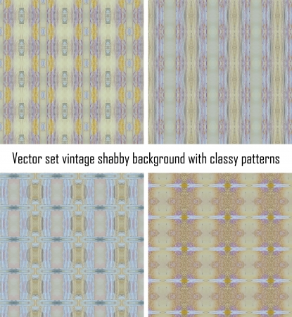 Vector set seamless vintage delicate colored wallpaper. Geometric or floral pattern on paper texture in grunge style. Stock Vector - 16554536