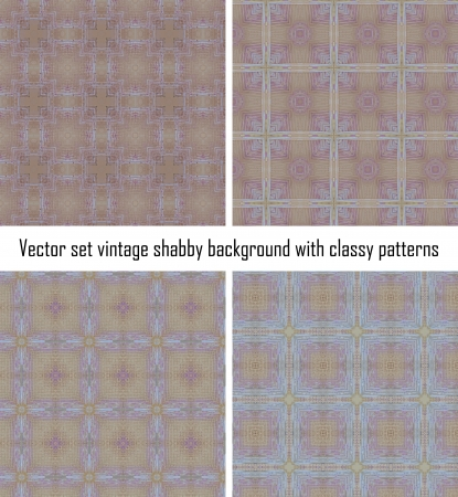 Vector set seamless vintage delicate colored wallpaper. Geometric or floral pattern on paper texture in grunge style. Stock Vector - 16554549