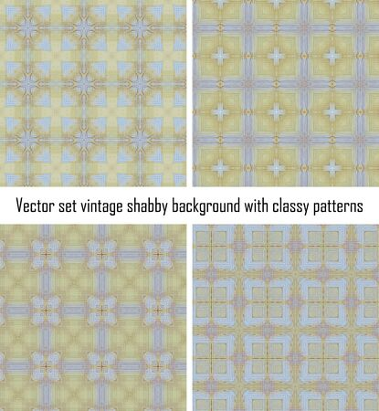 Vector set seamless vintage delicate colored wallpaper. Geometric or floral pattern on paper texture in grunge style. Stock Vector - 16554542