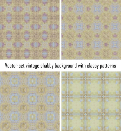 Vector set seamless vintage delicate colored wallpaper. Geometric or floral pattern on paper texture in grunge style. Stock Vector - 16554541