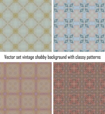 Vector set seamless vintage delicate colored wallpaper. Geometric or floral pattern on paper texture in grunge style. Stock Vector - 16609525