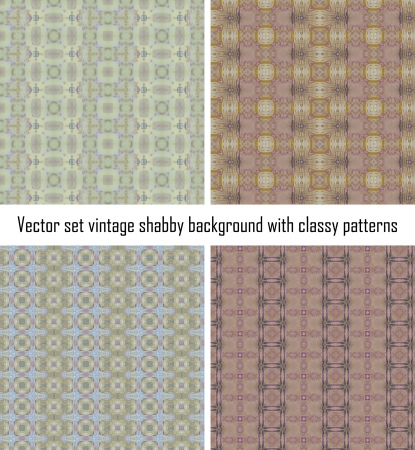 Vector set seamless vintage delicate colored wallpaper. Geometric or floral pattern on paper texture in grunge style. Stock Vector - 16609530