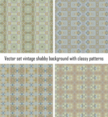 Vector set seamless vintage delicate colored wallpaper. Geometric or floral pattern on paper texture in grunge style. Stock Vector - 16609524