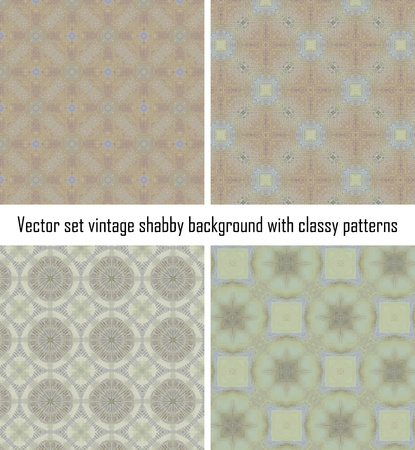 Vector set seamless vintage delicate colored wallpaper. Geometric or floral pattern on paper texture in grunge style. Stock Vector - 16609527