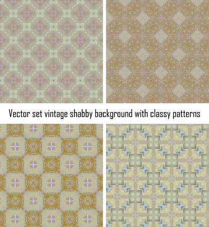 Vector set seamless vintage delicate colored wallpaper. Geometric or floral pattern on paper texture in grunge style. Stock Vector - 16609526