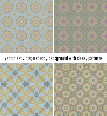 Vector set seamless vintage delicate colored wallpaper. Geometric or floral pattern on paper texture in grunge style. Stock Vector - 16609531