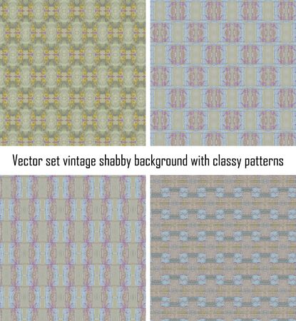 set seamless vintage delicate colored wallpaper. Geometric or floral pattern on paper texture in grunge style. Stock Vector - 16635122