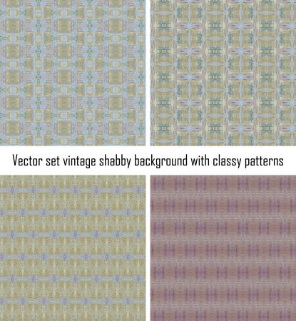 set seamless vintage delicate colored wallpaper. Geometric or floral pattern on paper texture in grunge style. Stock Vector - 16635120