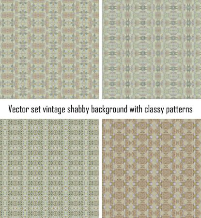 set seamless vintage delicate colored wallpaper. Geometric or floral pattern on paper texture in grunge style. Stock Vector - 16635119