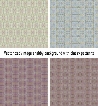 set seamless vintage delicate colored wallpaper. Geometric or floral pattern on paper texture in grunge style. Stock Vector - 16635135