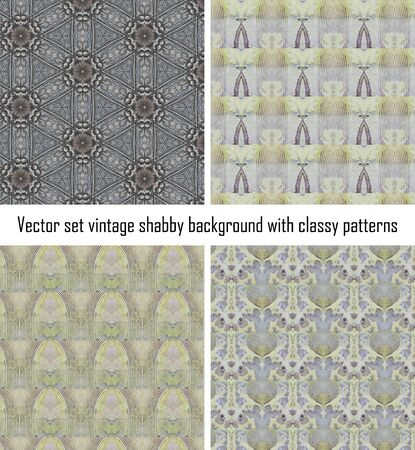 set seamless vintage delicate colored wallpaper. Geometric or floral pattern on paper texture in grunge style. Stock Vector - 16635128