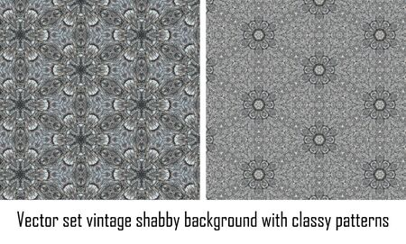 set seamless vintage delicate colored wallpaper. Geometric or floral pattern on paper texture in grunge style. Stock Vector - 16635131