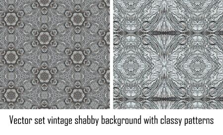 set seamless vintage delicate colored wallpaper. Geometric or floral pattern on paper texture in grunge style. Stock Vector - 16635133