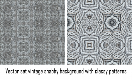 set seamless vintage delicate colored wallpaper. Geometric or floral pattern on paper texture in grunge style. Stock Vector - 16635132