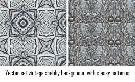Vector set seamless vintage delicate colored wallpaper. Geometric or floral pattern on paper texture in grunge style. Stock Vector - 16698434