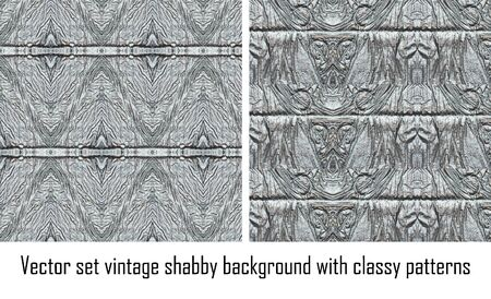 Vector set seamless vintage delicate colored wallpaper. Geometric or floral pattern on paper texture in grunge style. Stock Vector - 16698433