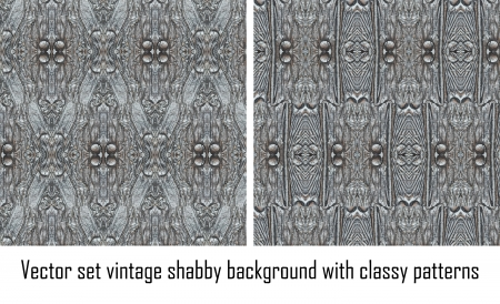 Vector set seamless vintage delicate colored wallpaper. Geometric or floral pattern on paper texture in grunge style. Stock Vector - 16698435