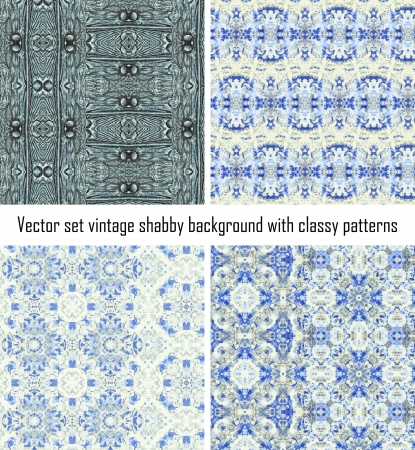 set seamless vintage delicate colored wallpaper. Geometric or floral pattern on paper texture in grunge style. Stock Vector - 16820934