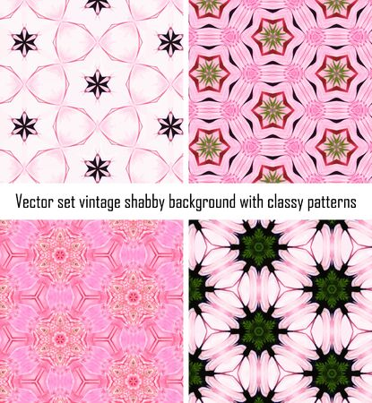 set seamless vintage delicate colored wallpaper. Geometric or floral pattern on paper texture in grunge style. Vector