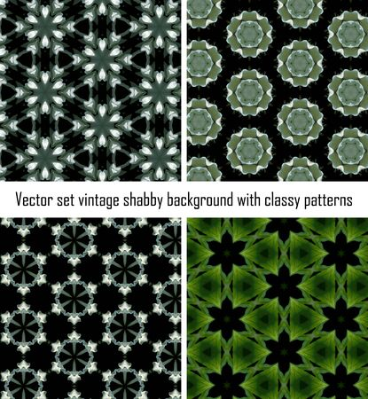 Vintage shabby background with classy patterns. Seamless vintage delicate colored wallpaper. Geometric or floral pattern on paper texture in grunge style. Vector