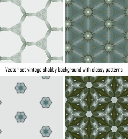 set seamless vintage delicate colored wallpaper. Geometric or floral pattern on paper texture in grunge style. Stock Vector - 16875092