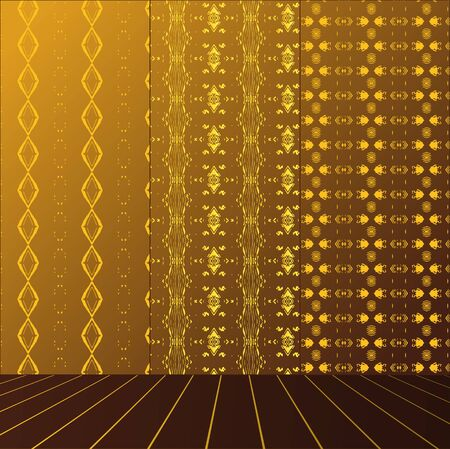 Golden Room with set seamless and wooden floor Stock Vector - 17632364
