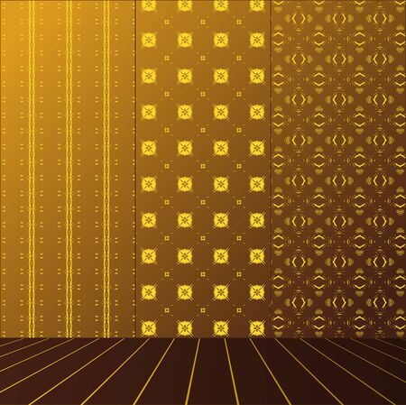 Golden Room with set seamless and wooden floor Stock Vector - 17632374