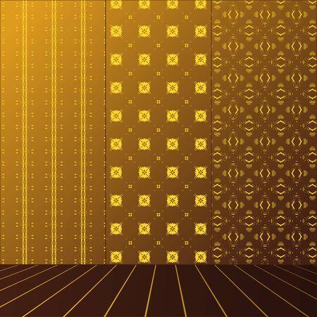 Golden Room with set seamless and wooden floor Stock Vector - 17632374