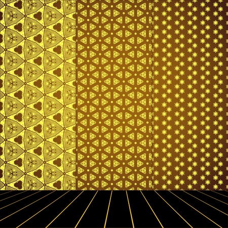 Golden Room with set seamless and wooden floor Stock Vector - 17818115
