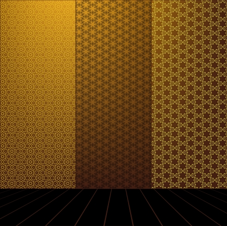 Golden Room with set seamless and wooden floor Stock Vector - 17818121