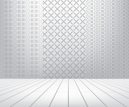 White room with set seamless and wooden floor Stock Vector - 17818130