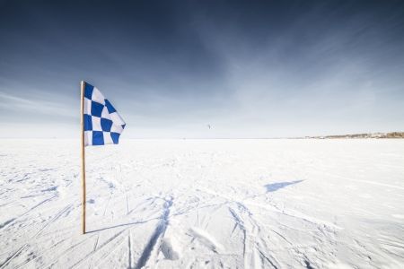 The Flags on the background of winter sky photo