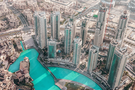View on Dubai from the highest tower in the world, Burj Khalifa Stock Photo