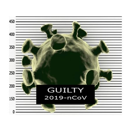 Criminal mugshot of virus at police station holding guilty placard , isolated on background, 3D rendering