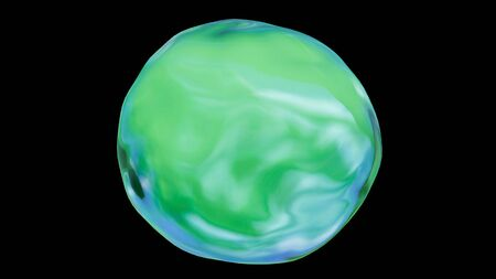 A bright green and blue nature or environmental icon orb circle on a black, isolated background with a reflection. Use it for a purity or future concept. 3D illustration