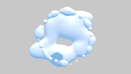 White water drops an white background. 3D rendering