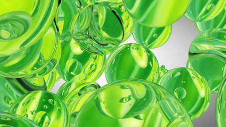 Green water drops. Abstract water with bubbles. 3D illustration Stock fotó