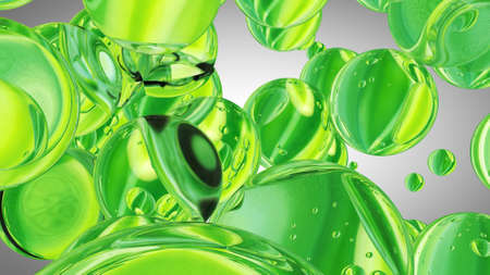 Green water drops. Abstract water with bubbles. 3D illustration Banco de Imagens