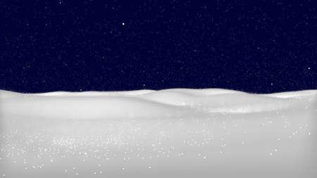 Snowy landscape on dark transparent background. Illustration of winter decoration. Snow background. 3D rendering