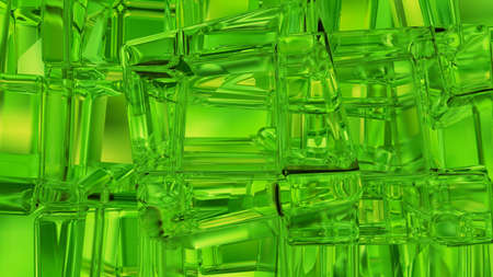 Green tiled mosaic background with copy space. 3D rendering