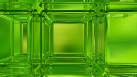 3d concept design, abstract green geometric background, architectural glass construction. 3D rendering