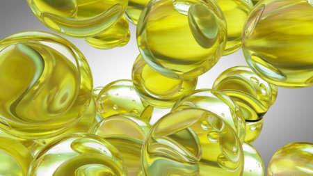 The cod liver oil omega 3 gel capsules isolated on white background. 3D illustration Standard-Bild