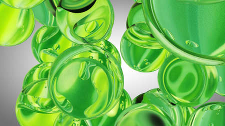 Green water drops. Abstract water with bubbles. 3D illustration Standard-Bild