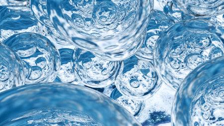 Levitating water drops. Background of beautiful water drops. 3D rendering