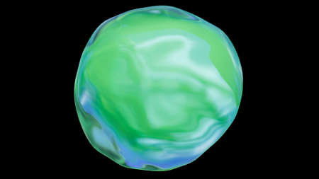 A bright green and blue nature or environmental icon orb circle on a black, isolated background with a reflection.