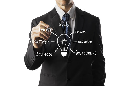 new business problems: businessman writing idea and light bulb