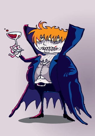 Vampire drunk by blood Ilustrace