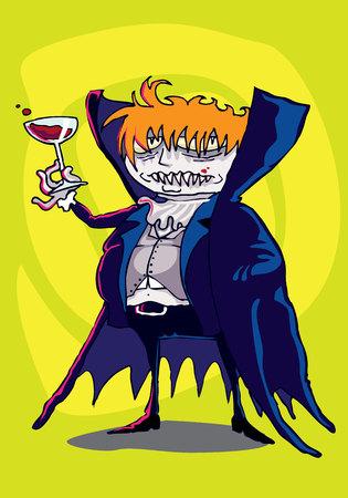 Vampire drinking blood on swirl background
